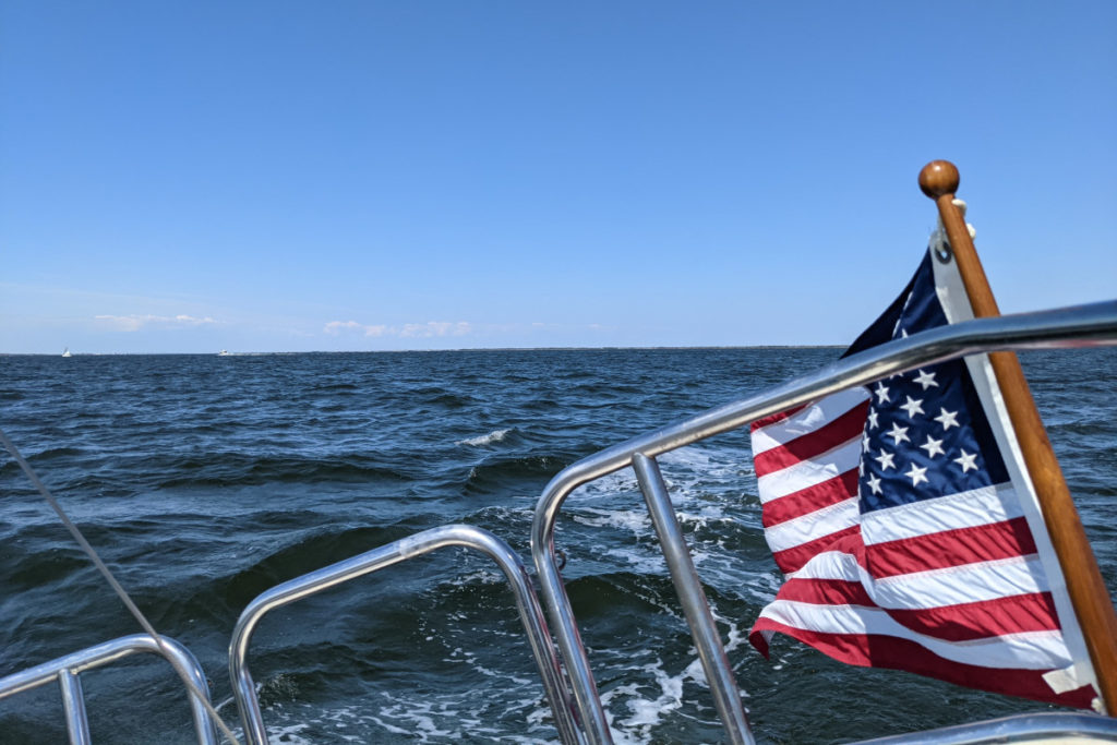 Stern View with Ensign of the United States