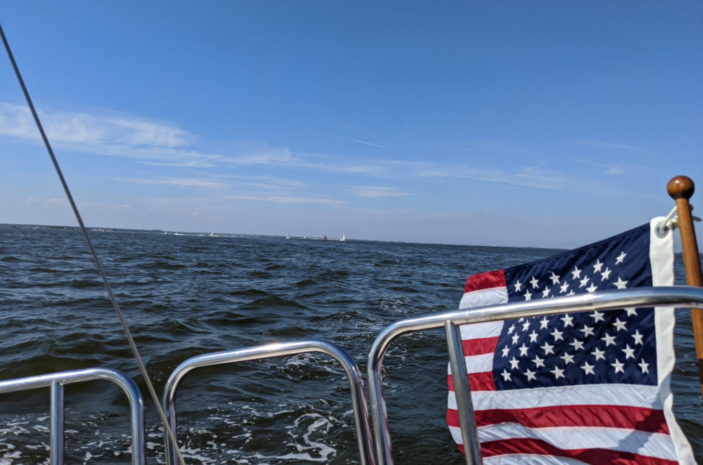 Photo off the stern, showing my Ensign