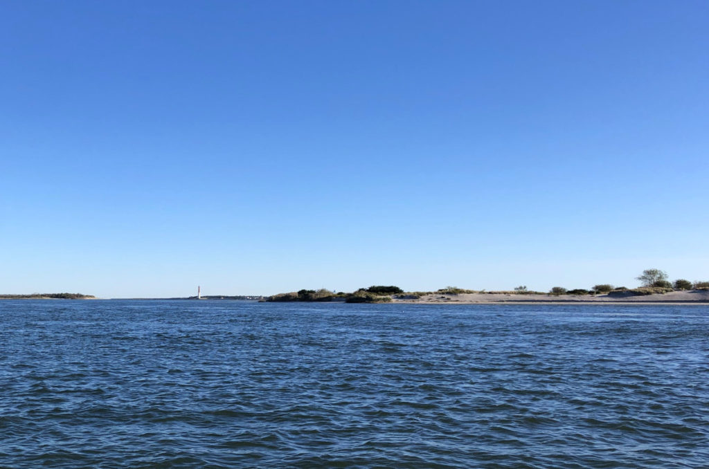 Islands Flanking Oyster Creek Channel with Barnegat Light in the Distance