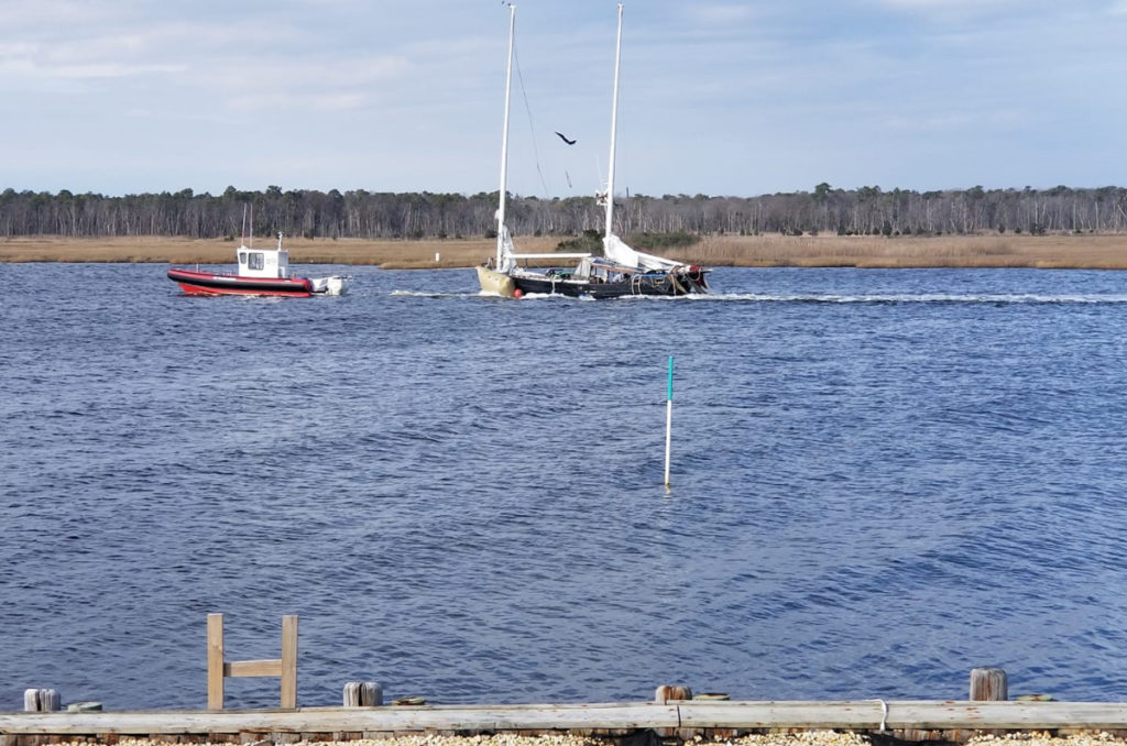 Boat Floated and Being Towed