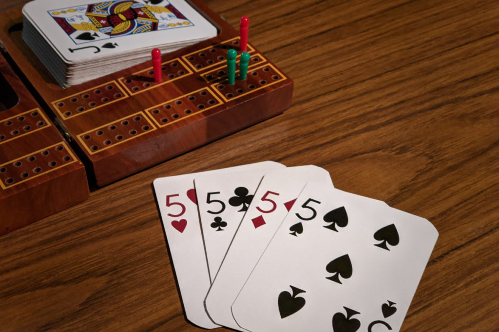 Cribbage Hand of all 5s with a Jack